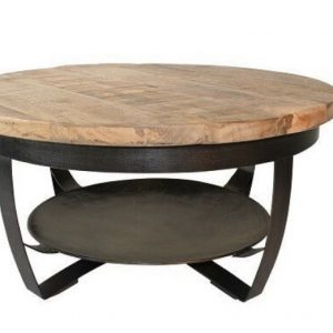 Een mooie ronde salontafel gemaakt van mangohout en staal.
