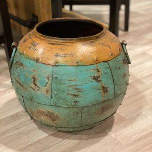 Stalen pot bruin/turquoise