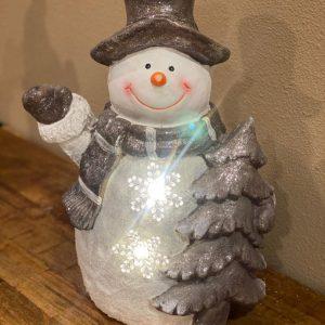 Kerst sneeuwpop met verlichting