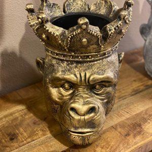 Bloempot aap brons