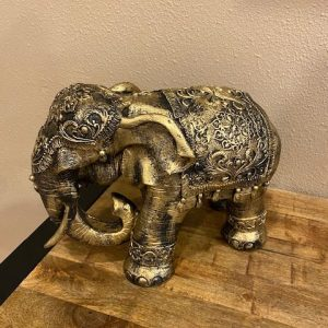 Olifant staand met dekje brons